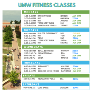 Spring 2021 Group Fitness Schedule