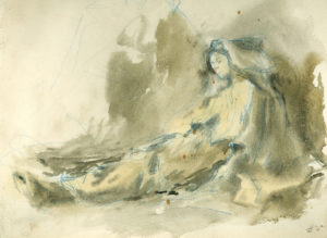 Study for The Nativity, wash drawing, by Gari Melchers